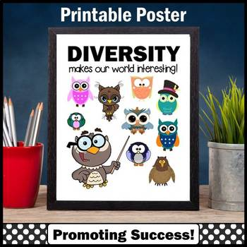 Cultural Diversity Poster, Growth Mindset Owl Classroom Theme