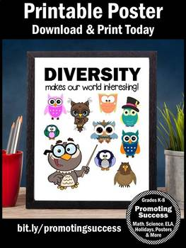 Cultural Diversity Poster, Growth Mindset Owl Themed Classroom