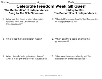 Celebrate Freedom Week QR Quest