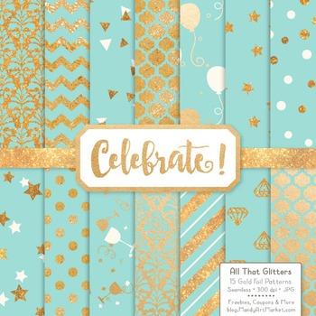 Celebrate Gold Foil Digital Papers in Aqua