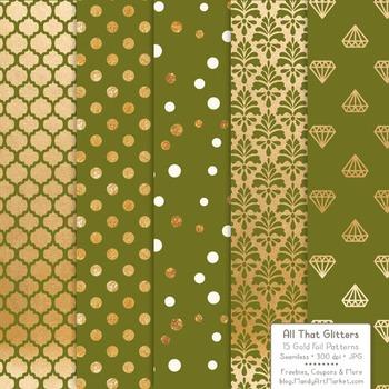 Celebrate Gold Foil Digital Papers in Avocado