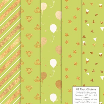 Celebrate Gold Foil Digital Papers in Bamboo