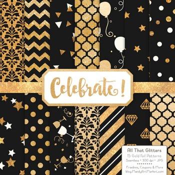 Celebrate Gold Foil Digital Papers in Black