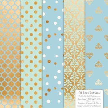 Celebrate Gold Foil Digital Papers in Blue & Mint