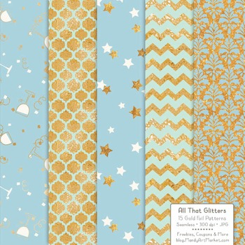 Celebrate Gold Foil Digital Papers in Blue & Mint