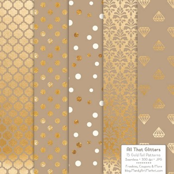 Celebrate Gold Foil Digital Papers in Champagne