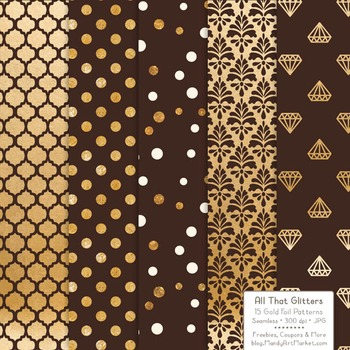 Celebrate Gold Foil Digital Papers in Chocolate