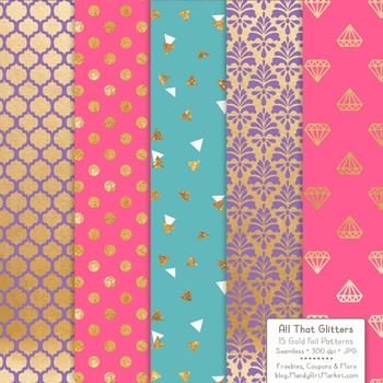 Celebrate Gold Foil Digital Papers in Crayon Box