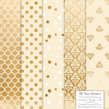 Celebrate Gold Foil Digital Papers in Cream