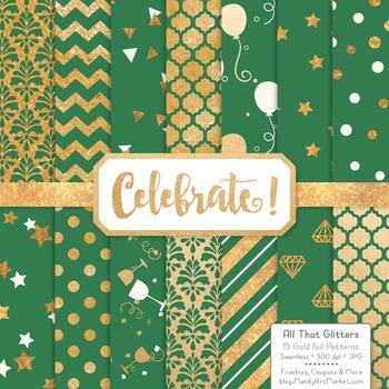 Celebrate Gold Foil Digital Papers in Emerald