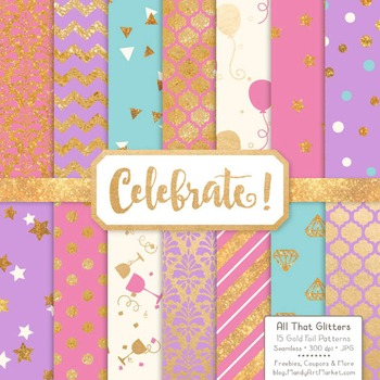 Celebrate Gold Foil Digital Papers in Fresh