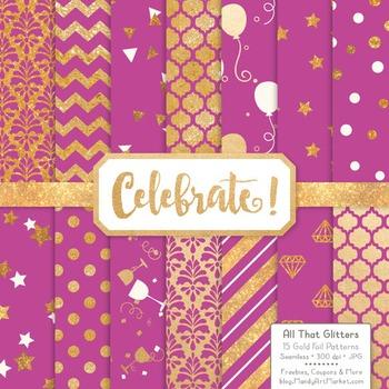 Celebrate Gold Foil Digital Papers in Fuchsia