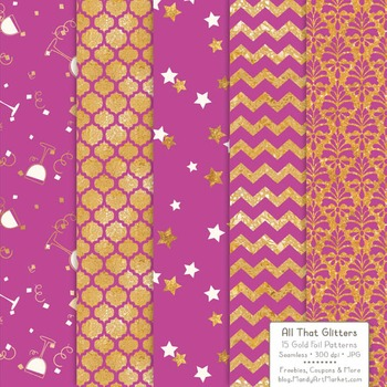Celebrate Gold Foil Digital Papers in Fuchsia