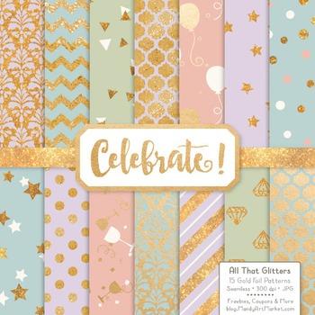 Celebrate Gold Foil Digital Papers in Grandmas Garden