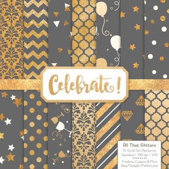 Celebrate Gold Foil Digital Papers in Grey