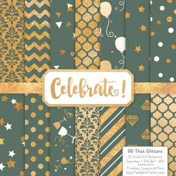 Celebrate Gold Foil Digital Papers in Hemlock