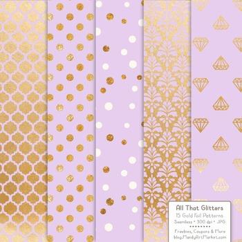 Celebrate Gold Foil Digital Papers in Lavender