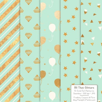 Celebrate Gold Foil Digital Papers in Mint