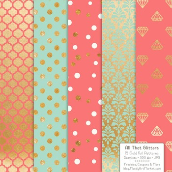 Celebrate Gold Foil Digital Papers in Mint & Coral