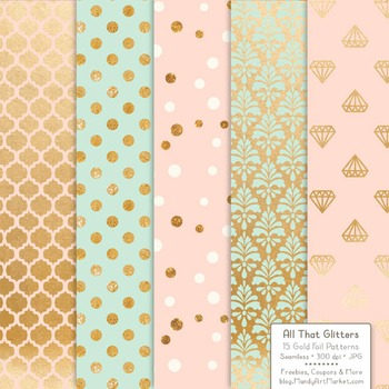 Celebrate Gold Foil Digital Papers in Mint & Peach