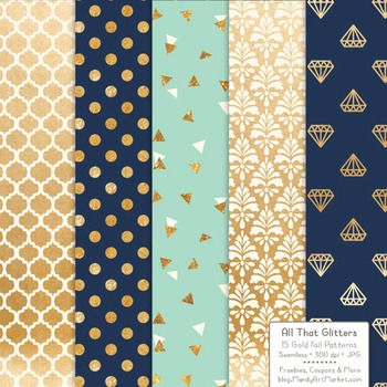 Celebrate Gold Foil Digital Papers in Modern Chic