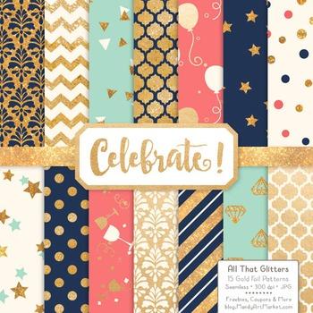 Celebrate Gold Foil Digital Papers in Modern Chic
