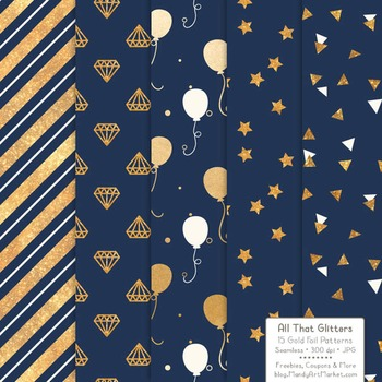 Celebrate Gold Foil Digital Papers in Navy