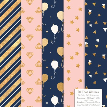 Celebrate Gold Foil Digital Papers in Navy & Blush