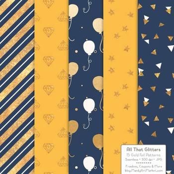 Celebrate Gold Foil Digital Papers in Navy & Lemon