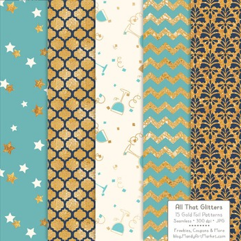 Celebrate Gold Foil Digital Papers in Oceana