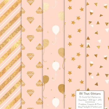 Celebrate Gold Foil Digital Papers in Peach