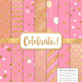 Celebrate Gold Foil Digital Papers in Pink