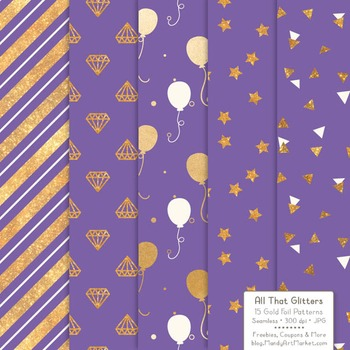 Celebrate Gold Foil Digital Papers in Purple