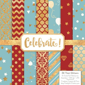 Celebrate Gold Foil Digital Papers in Red & Robin Egg