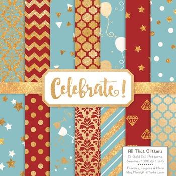 Celebrate Gold Foil Digital Papers in Red & Robin Egg