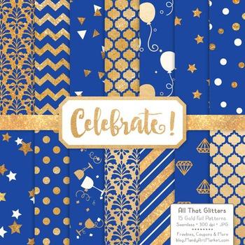 Celebrate Gold Foil Digital Papers in Royal Blue
