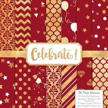 Celebrate Gold Foil Digital Papers in Ruby