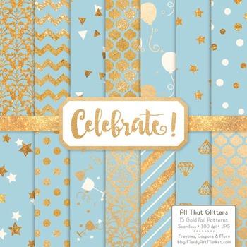 Celebrate Gold Foil Digital Papers in Soft Blue