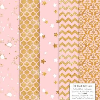 Celebrate Gold Foil Digital Papers in Soft Pink