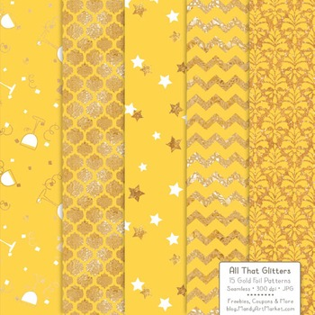 Celebrate Gold Foil Digital Papers in Sunshine