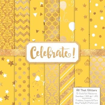 Celebrate Gold Foil Digital Papers in Sunshine