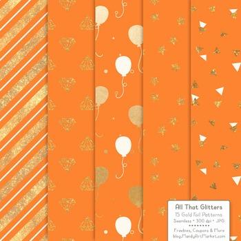Celebrate Gold Foil Digital Papers in Tangerine