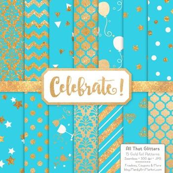 Celebrate Gold Foil Digital Papers in Tropical Blue