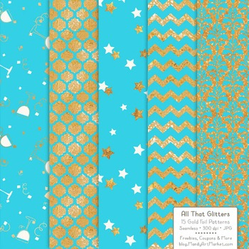 Celebrate Gold Foil Digital Papers in Tropical Blue