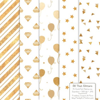 Celebrate Gold Foil Digital Papers in White