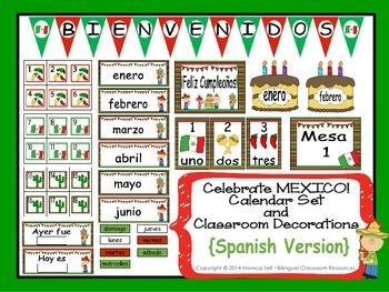 Celebrate MEXICO! Calendar Set and Classroom Decorations {Spanish Version}