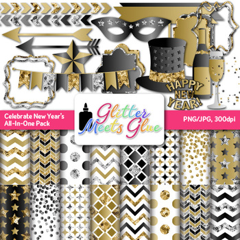 celebrate new years 2018 clip art scrapbook paper frames for party invites