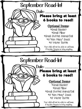 Celebrate Reading! Host Monthly READ INs!  {EDITABLE NOTES}