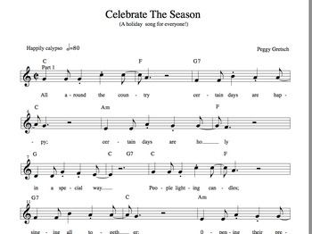 Holiday Calypso/Simple Orff Arrangement /Elementary Choral and Classroom Music