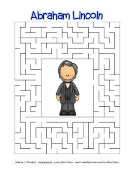 Celebrate U.S. Presidents – Abraham Lincoln - Search, Scramble, &Maze! (color)